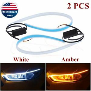 2 X Led Drl Light Amber Sequential Flexible Turn Signal Strip Headlight 6000k Us