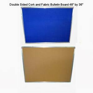 Double Sided Cork fabric Bulletin Board 48 X 36 With Aluminum Frame