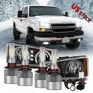 6x Led Headlight Bulb Fog Light For Chevy Silverado 1500 2500hd 3500hd 2003 2006