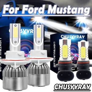 4pcs C6 Led Bulbs Headlight fog Light Plug play White For Ford Mustang 2006 2012