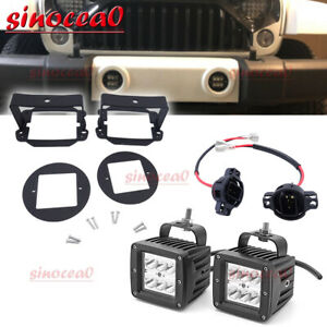 Fit 10 18 Jeep Wrangler Unlimited Jk 4wd Led Fog Lights Mount Kit Plug N Play