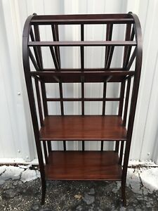 Antique Inlaid Mahogany Bookshelf Magazine Rack 37 X 17 X 10