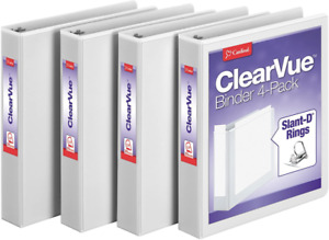 Cardinal 1 5 Inch 3 Ring Binder D Ring White 4 Pack Holds 375 Sheets 29400