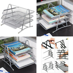 Mesk Desk Organizer With 3 Trays For Letters Documents Mail Files Paper Silver