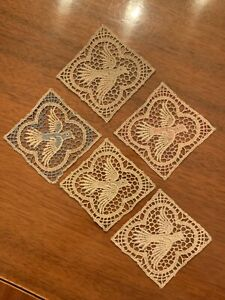 Rare Lot Of 5 Antique Embroidered Lace Appliques New Old Stock