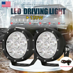 2x 5 Round Led Work Spot Lights 120w Spot Beam Off road Driving Light Cree 5in