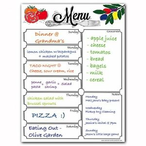 Magnetic Menu Dry Erase Weekly Meal Planner Board For Whiteboard