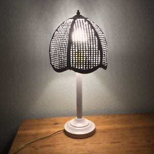 Vtg 20 Tall Mid Century Modern White Metal Table Lamp Stand With Wicker Shade