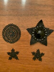 Rare Lot Of 4 Antique Embroidered Black Lace Appliques
