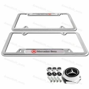 2pcs Mercedes Benz 2018 2019 Silver License Plate Frame Stainless W Screw Set
