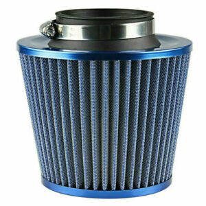 75mm 3 Inch Blue Universal Car Inlet Cold Air Intake Cone Air Filter Cleaner