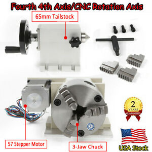 Rotary 4th Axis A Axis 100mm 3 Jaw Chuck W Tailstock Fit Cnc Router Engraver Us