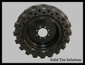 12x16 5 33x12x20 Flat Free Solid Skid Steer Tires Set Of 4 With Rims