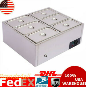 Commercial Food Warmer 6 pan Steamer Stainless Steel Buffet Electric Countertop