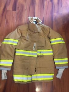 Firefighter Globe Turnout Bunker Coat 32x32 Gx 7 2005 No Cut Out Euc