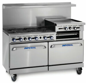 Imperial Range 60in Restaurant Range W 6 Gas Burner 2 Ovens 24in Griddle