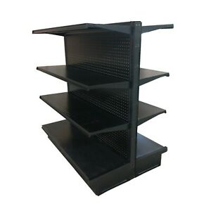 New 12 Aisle Gondola For Convenience Store Shelving 54 Tall 35 W Black W Peg