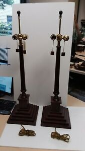 Pair Of Tall Column Lamps Dark Mahogany Finish By Frederick Cooper