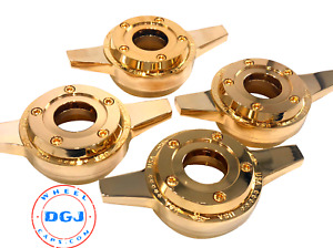 Zenith Gold Locking Style Cut Knock off Spinner Cap For Lowrider Wire Wheels