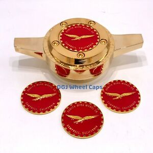 Zenith Eagle Red On Gold Lowrider Wire Wheel Metal Chips Emblems