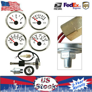 12v 24v 52mm 4 Gauge Set W Sender Fuel Level Gauge Water Temp Volt Oil Pressure