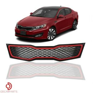 Fits Kia Optima 2011 2012 2013 Sx Sxl Front Upper Grille Black With Red Trim
