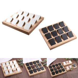 24 Pieces Paper Earring Holder Cards Bamboo Tray Packing Cards Display
