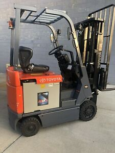 Nice 2014 Toyota 7fbcu15 3000 Lbs Capacityl Electric Forklift Triple Mast S s