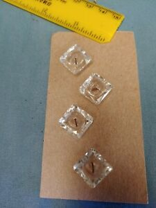 Vintage Antique Lot Of 4 1 2 Clear Glass Buttons