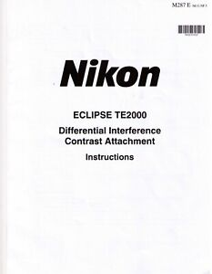 Nikon Te2000 Microscope Differential Interference Contrast Manual