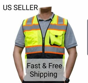 Black Yellow Mesh Fabric Reflective Pipping High Visibility Vest 8040