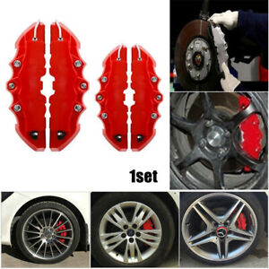 2 Pairs Red 3d Disc Brake Caliper Cars Parts Caliper Covers Front Rear Kits