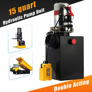 Double Acting Hydraulic Pump 15 Quart 12v Dc Dump Trailer Metal Reservoir