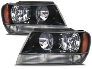 Headlights Pair Left Right Set Fits 99 2004 Jeep Grand Cherokee W xenon Bulbs