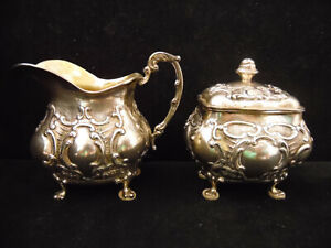 Beautiful Design Flowers Leaves Sterling Silver Creamer Sugar Bowl With Hallmark