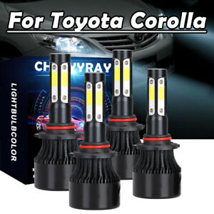 Combo 9005 9006 4x Led Headlight For Toyota Corolla 2001 2013 High low Beam Kit