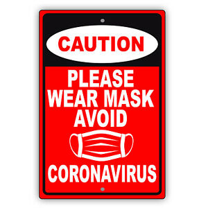 Caution Please Wear Mask Avoid Contagious Disease Safety Aluminum Metal Sign