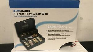 New Steel Master Tiered Tray Cash Box With Two Keys 2216194g2