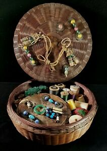 Antique Chinese Sewing Basket 400 Buttons Needle Case Spools Of Thread