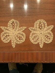 Rare Lot Of 2 Art Deco Embroidered Lace Appliques New 1920 S