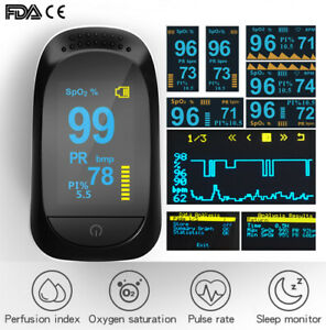 Finger Pulse Oximeter Heart Rate Spo2 Monitor Blood Oxygen Meter Sensor Cms50d