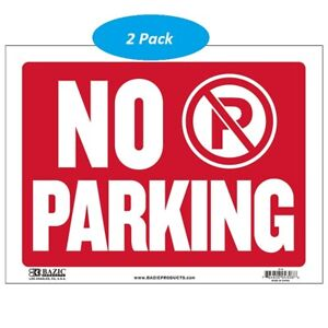 3 Pack No Parking Sign Durable Plastic Weatherproof 9 Inch X 12 Inch