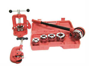 Ratchet Pipe Threader With 5 Dies And Pipe Cutter 2 Clamp On Pipe Vice 1