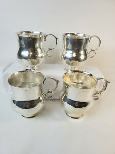 Mendoza Mexican 950 Sterling Hand Hammered Mule Cups Goblets 4 Heavy