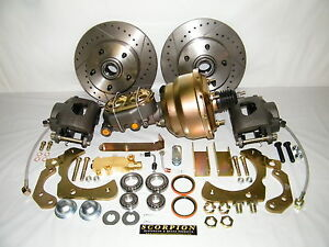 1955 1958 Chevrolet Front Disc Brake Conversion Kit Drilled Slotted Rotors
