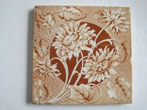 Antique Victorian Transfer Print Sherwin Cotton Floral Wall Tile