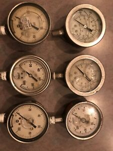 6 Old Vintage Steampunk Industrial Art Fluid Filled Pressure Gauges Metal Nice