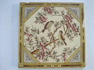 Antique Victorian Transfer Print Tint Tile Japanesque Design Patt 1192