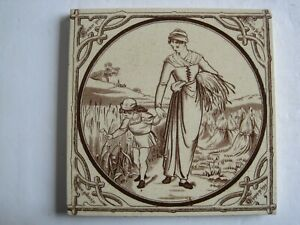 Antique Victorian Malkin Edge Seasons Summer Transfer Print Tile C1880