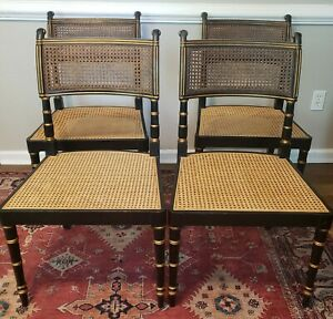 Vintage Black Gold Regency Cane Chairs Baker Furniture Style Free Shipping